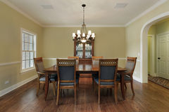 Dining room with gold walls Stock Image