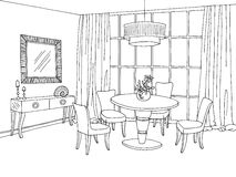 Dining room graphic black white sketch illustration Royalty Free Stock Images