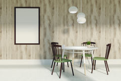Dining room with green and brown chairs and poster Royalty Free Stock Image