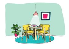 Dining room hand drawn sketch. interior design vector illustration. Part of the dining room. Table and chairs.On the table vase of flowers. Lamps hang over the Royalty Free Illustration