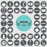Dining room icons set. Royalty Free Stock Photography