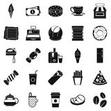 Dining room icons set, simple style Royalty Free Stock Images