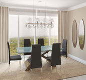Dining-room interior. Modern dining-room interior.3d render Royalty Free Stock Photo