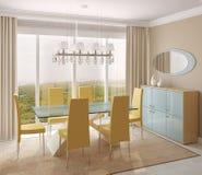 Dining-room interior. Modern dining-room interior.3d render Stock Images