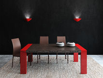 Dining-room interior. Modern dining-room interior. Frontal view. 3d render Royalty Free Stock Images