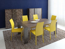 Dining-room interior. Modern dining-room interior. Minimalism. 3d render Stock Photography