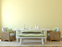 Dining-room interior. Modern dining-room interior. 3d render stock illustration
