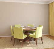 Dining-room interior. Dining-room interior with round table and six green chairs. 3d render Royalty Free Stock Photography