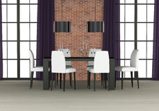 Dining room interior. With brick wall Stock Photography