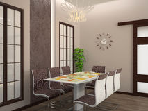 Dining room interior 3D Stock Image