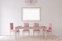 Dining-room interior.3d render. Royalty Free Stock Images