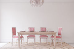 Dining-room interior.3d render. Royalty Free Stock Image