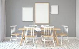 Dining-room interior.3d render. Stock Photos
