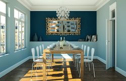 Dining room interior design with blue wall. 3D Illustration Royalty Free Stock Photo