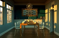 Dining room interior design with blue wall. 3D Illustration Stock Photo