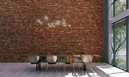 The dining room interior design and brick wall pattern background Royalty Free Stock Image