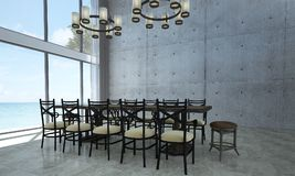 The dining room interior design and concrete wall texture background Royalty Free Stock Photo