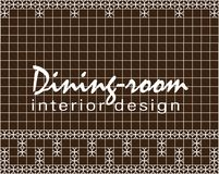 Dining-room interior design. Text. Tile design. Brown square tiles with decor. vector illustration