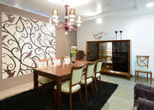 Dining room. Interior of dining room. Exclusive design Royalty Free Stock Image