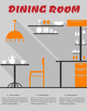 Dining room interior in flat format. Flat design interior of minimalist modern dining room with bar, chair, lampshade, table, shelves, dishes and text Dining Stock Image