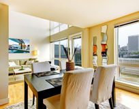 DIning room interior in modern city apartment. Stock Photography