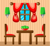 Dining room interior. Picture dining room with design elements. Vector illustration Royalty Free Stock Images