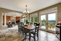 Dining room interior with stone floor Royalty Free Stock Photography