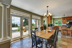 Dining room interior with stone floor Royalty Free Stock Photo