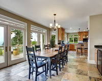 Dining room interior with stone floor Stock Images