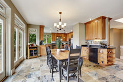 Dining room interior with stone floor Royalty Free Stock Image