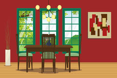 Dining room interior with table, chair, hanging lamp and wall decoration.Vector illustration. Dining room interior with table, chair, hanging lamp and wall Stock Photography