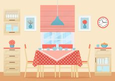 Dining room interior. Vector illustration. Flat design