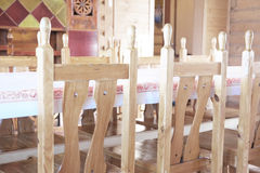 Dining room. Interior of the dining room in the wooden house Stock Photography