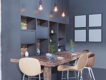 Dining room and kitchen interior wall mock up on white background, 3D rendering, 3D illustration. Template,  texture,  up,  wall,  white,  wood,  wooden Royalty Free Stock Image