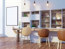 Dining room and kitchen interior wall mock up on white background, 3D rendering, 3D illustration. Template,  texture,  up,  wall,  white,  wood,  wooden Royalty Free Stock Photo