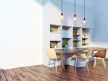 Dining room and kitchen interior wall mock up on white background, 3D rendering, 3D illustration. Template,  texture,  up,  wall,  white,  wood,  wooden Stock Photography