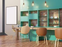 Dining room and kitchen interior wall mock up on white background, 3D rendering, 3D illustration. Template,  texture,  up,  wall,  white,  wood,  wooden Stock Image