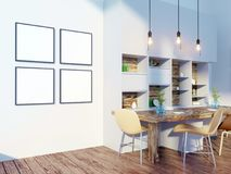 Dining room and kitchen interior wall mock up on white background, 3D rendering, 3D illustration. Template,  texture,  up,  wall,  white,  wood,  wooden Royalty Free Stock Photos