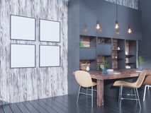 Dining room and kitchen interior wall mock up on white background, 3D rendering, 3D illustration. Template,  texture,  up,  wall,  white,  wood,  wooden Stock Photo