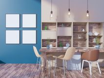 Dining room and kitchen interior wall mock up on white background, 3D rendering, 3D illustration. Template,  texture,  up,  wall,  white,  wood,  wooden Royalty Free Stock Images