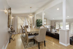 Dining room with living area below Stock Images