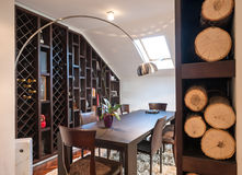 Dining room in loft apartment Royalty Free Stock Photos