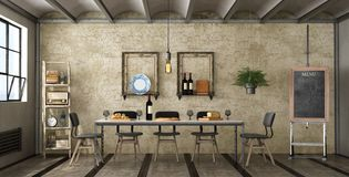 Dining room in a loft Royalty Free Stock Image