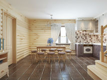 Dining room in a log interior with brown tiles on the floor and. Light wood walls. 3D render Stock Image