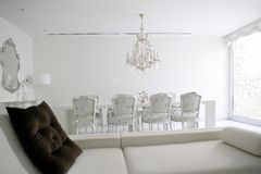 Dining room, lounge area white interior. Decoration house Royalty Free Stock Photo