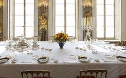 Dining room in a luxurious castle Royalty Free Stock Photos