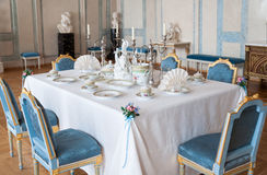 Dining room. Luxurious dining room and table setting in rundale palace, latvia Royalty Free Stock Image