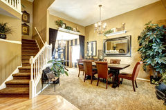 Dining room in luxury american house Stock Images