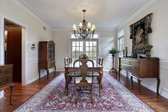 Dining room in luxury home Royalty Free Stock Image