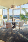 Dining Room in Luxury Home. Beautiful Dining Room with View in Luxury Home royalty free stock photos